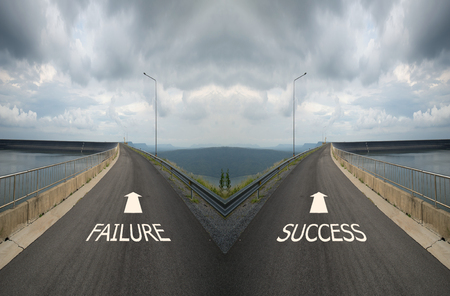 spliting: Concept of choice with crossroads spliting in two ways, choose Failure or Success road the correct way