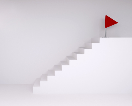 ascending: Empty room with ascending stairs to red flag, with floor and wall background
