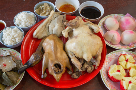 chinese new year food: chicken and duck prepare for chinese new year food Stock Photo