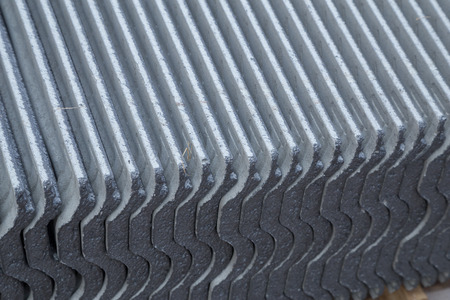 closedup: close-up texture of concrete roof tile (gray color) Stock Photo