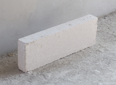 foamed: stack of white Lightweight Concrete block, Foamed concrete block, at construction site