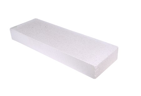foamed: stack of white Lightweight Concrete block, Foamed concrete block, isolated on white background