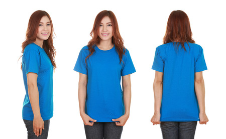 young beautiful female with blank blue t-shirt isolated on white background