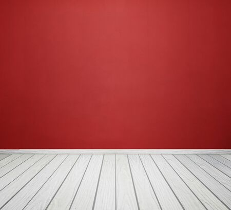 white wood floor: empty room interior with red concrete wall and white wood floor
