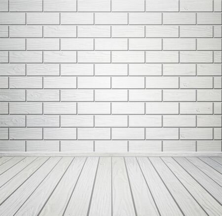 white wood floor: empty white room interior with brick wall and wood floor Stock Photo