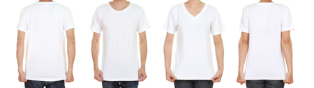 tshirt: man and woman with blank black t-shirt isolated on white background