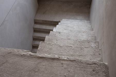 housebuilding: staircase cement concrete structure in residential house building, under construction Stock Photo