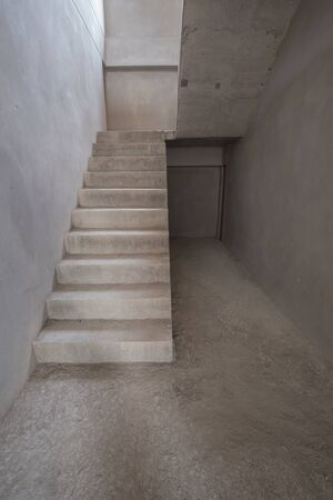 concrete structure: staircase cement concrete structure in residential house building, under construction Stock Photo