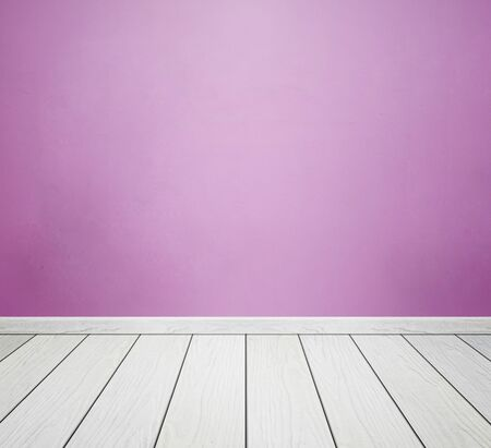 white wood floor: empty room interior with pink concrete wall and white wood floor