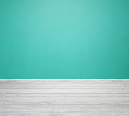 white wood floor: empty room interior with green concrete wall and white wood floor