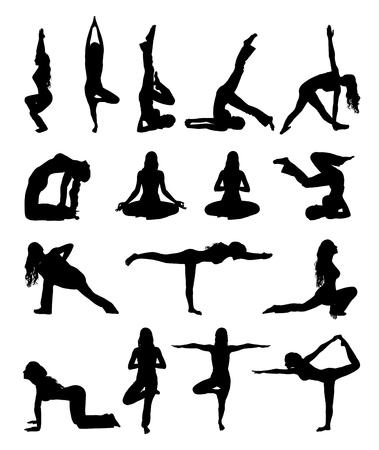 Satz von sihouette Frau, die Übung auf weißem Hintergrund macht Yoga isoliert