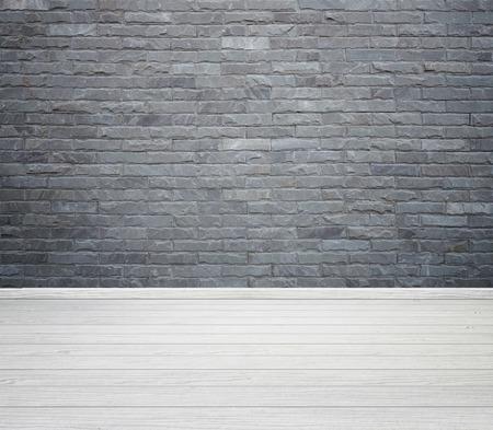 leeren Raum Interieur mit Ziegelsteinfliesen Wand und Holzboden Hintergrund
