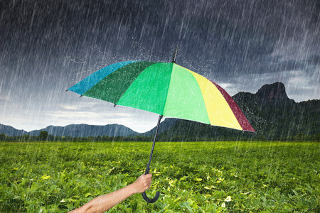 black bean: hand holding multicolored umbrella with falling rain at Khao Jeen Lae, big mountain at Lopburi, Thailand Stock Photo