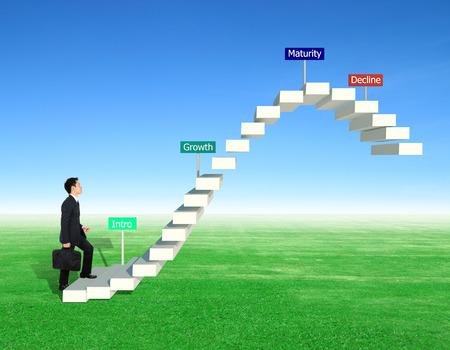 stepping: business man stepping forward on stair with product life cycle concept (PLC business concept) Stock Photo