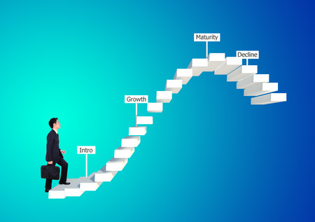 business man stepping forward on stair with product life cycle concept (PLC business concept) Stock Photo