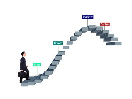 business man stepping forward on stair with product life cycle concept (PLC business concept) Foto de archivo