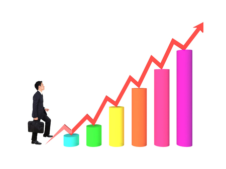 stepping: business man stepping forward on a growing 3d bar graph with arrow Stock Photo