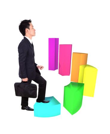 stepping: business man stepping forward on a growing 3d circular bar graph