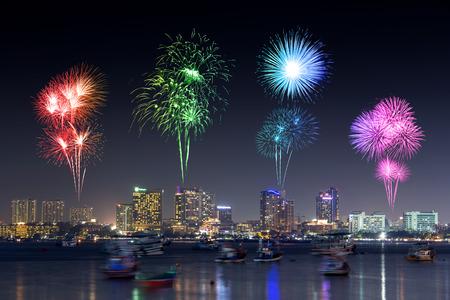 Fireworks Festival over Pattaya beach at night, Chonburi, Thailand