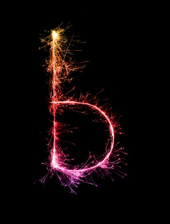 Sparkler firework light alphabet b (Small Letters) at night background