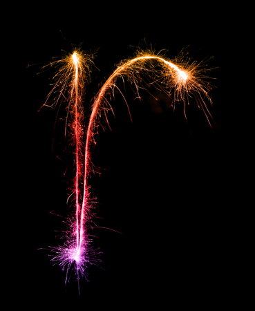 Sparkler firework light alphabet r (Small Letters) at night background