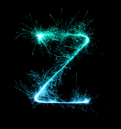 Sparkler firework light alphabet Z  at night background