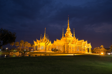 korat: Wat Luang Pho Toh temple in night time at Nakhon Ratchasima province, Thailand (The public anyone access)
