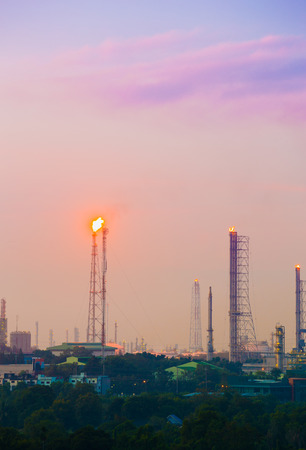Oil refinery industrial plant with sky, Thailand