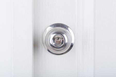 Key In Hand With Door Knob And White Door Background Stock Photo ...