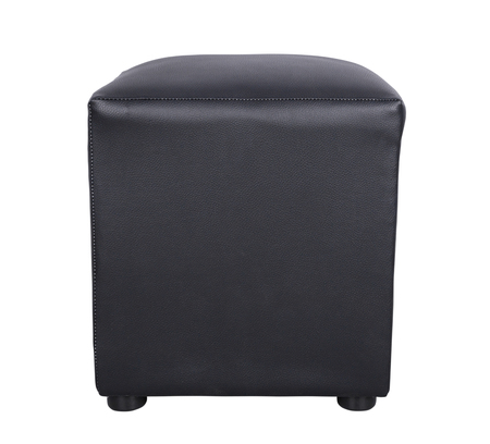 black leather foot stool isolate on white background (with clipping path)