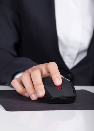mousepad: business hand working with mouse of computer