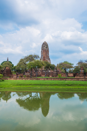 Ruins of buddha statues and pagoda of Wat Phra Ram temple in Ayutthaya historical park, Thailand