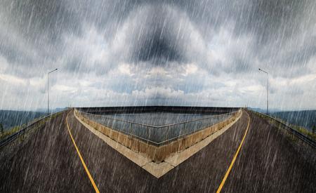 spliting: Falling rain in cross road spliting in two way