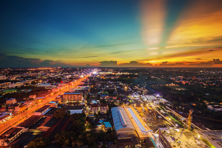 korat: view of Nakhon Ratchasima city at sunset, Thailand Editorial