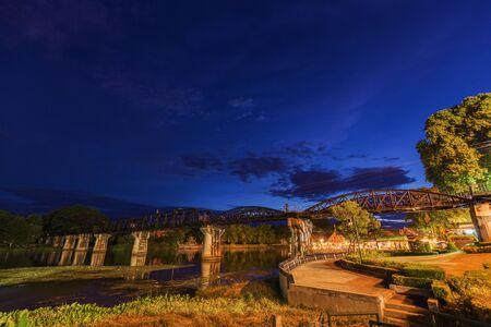 Bridge River Kwai with at night time in Kanchanaburi, Thailand