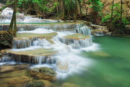 Level 1 of Huay Mae Kamin waterfall in Khuean Srinagarindra National Park, Kanchanaburi Province, Thailand