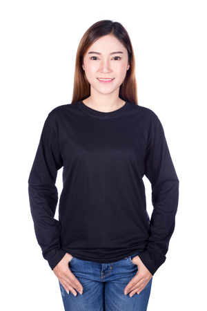 sleeve: happy woman in black long sleeve t-shirt isolated on a white background Stock Photo