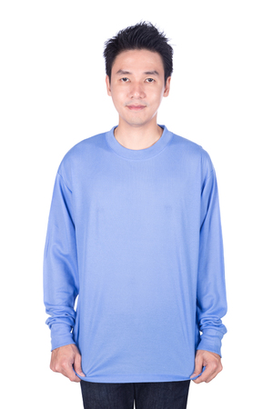 happy man in blue long sleeve t-shirt isolated on a white background