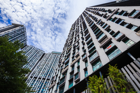 public housing: Pinnacle Duxton, Singapore - AUG 20, 2017: the Pinnacle Duxton, it is a group of tall buildings for living. (The Worlds Tallest Public Housing Buildings) Editorial