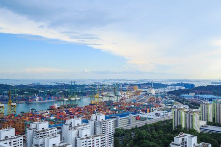 retailers: SINGAPORE - AUG 20, 2017: Commercial port of Singapore, It is one of the busiest Import, Export, Logistics ports in the world