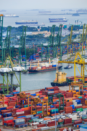storage: SINGAPORE - AUG 20, 2017: Commercial port of Singapore, It is one of the busiest Import, Export, Logistics ports in the world