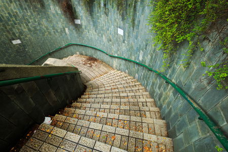 Spiral staircase of underground crossing at Fort Canning Park, Singapore
