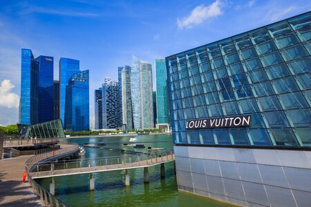 SINGAPORE - AUG 21, 2017 : The futuristic building of Louis Vuitton store in Marina Bay Front, Singapore on August 21, 2017 Editorial