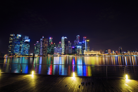 view of central business district building of Singapore city at night Editorial