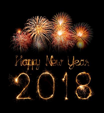 새해 복 많이 받으세요 2018 밤에 불꽃 놀이로 작성했습니다. 스톡 콘텐츠 - 86359590