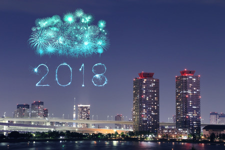 2018 Happy new year firework Sparkle at night, Odaiba,Tokyo cityscape, Japan