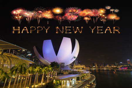 Happy new year firework Sparkle with Singapore skyline and Marina bay view