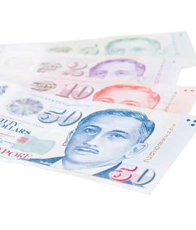 Singapore banknotes dollars isolated on a white background