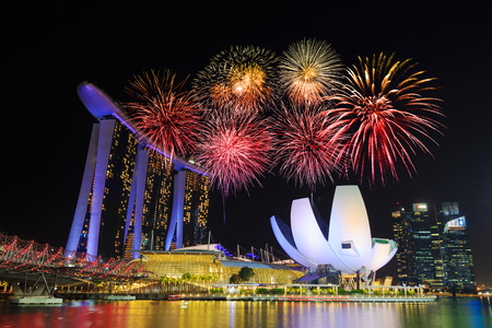 beautiful firework over marina bay at night, urban landscape of Singapore Editorial
