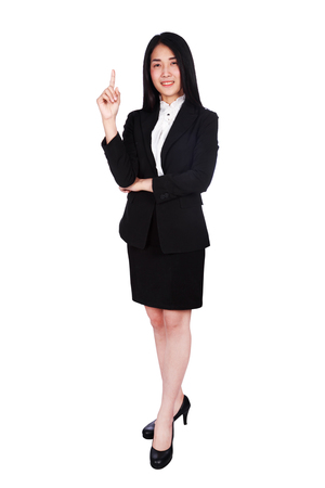Young business woman shows forefinger up isolated on a white background Stock Photo